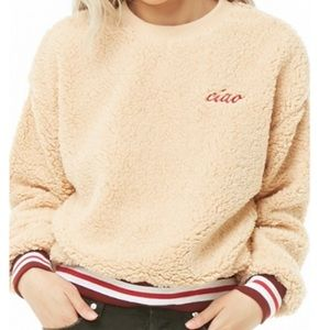 Winter CIAO Letter Print Round Neck Sweatshirt